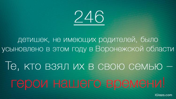 246 - такое количество детишек, не имеющих родителей, было усыновлено в этом году в Воронежской области. Те, кто взял их в свою семью – герои нашего времени!