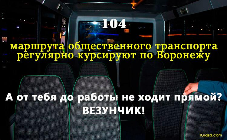 104 маршрута общественного транспорта регулярно курсируют по Воронежу . А от тебя до работы не ходит прямой? Везунчик!