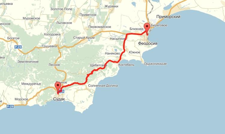 От Судака до Феодосии 52 километра по автотрассе