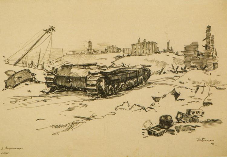 СХИ. Немецкий танк на окраине